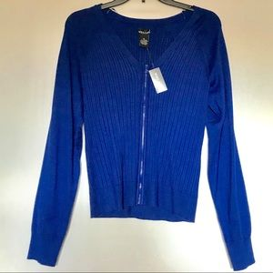 NWT Wet Seal Royal Blue Zip-up Cardigan